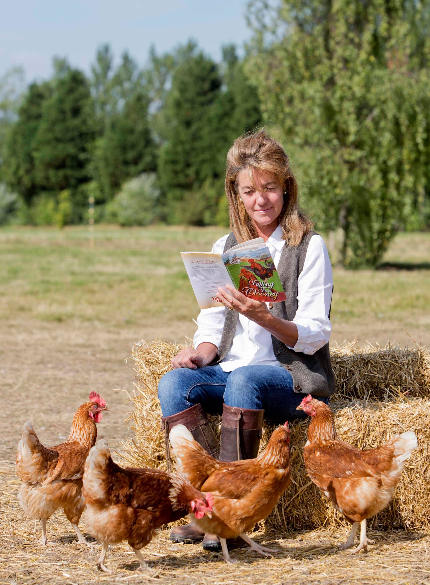 Catherine with Chickens